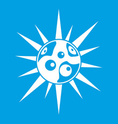 Round cell virus icon white vector