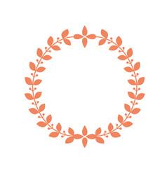 round laurel frame circle wreath border with leaf vector image