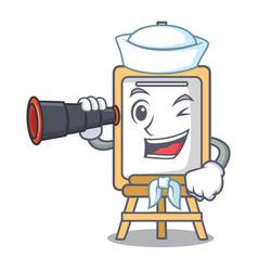 Sailor with binocular easel mascot cartoon style vector