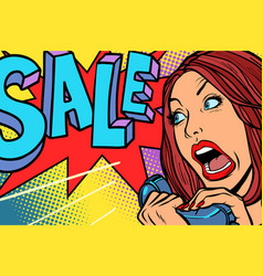 sale shopping season woman screams in phone vector image