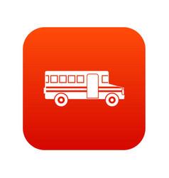 school bus icon digital red vector image vector image