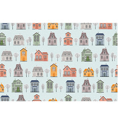 seamless pattern with winter houses vector image