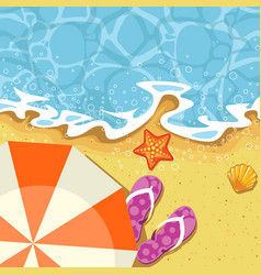Seaside summer vacation - parasol send and wave vector
