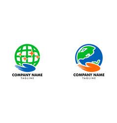 set globe care logo design element vector image