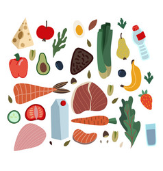 set healthy food such as meal vegetables and vector image