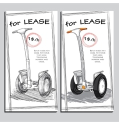 Set lease brochure with hand drawn segway vector