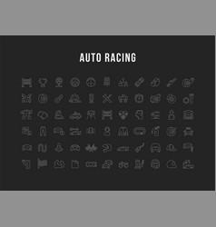 Set line icons auto racing vector