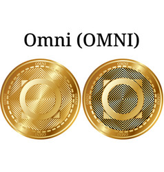 Set of physical golden coin omni omni vector