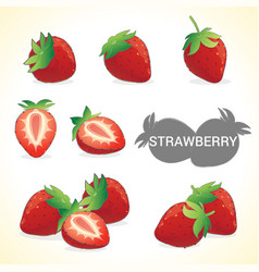 Set of strawberries in various styles vector