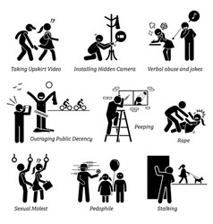 Sex crime and criminal pictogram depicts sexual vector