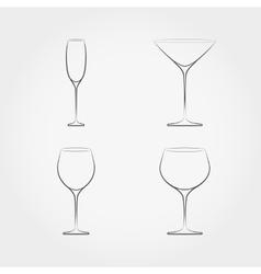 simple set classic stemware vector image