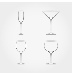 Simple set of classic stemware vector image