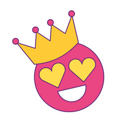Smile emoticon hearts shape eyes with crown vector