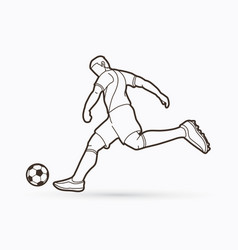 Soccer player shooting a ball action outline vector