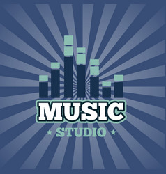 sound record studio logo badge emblem vector image
