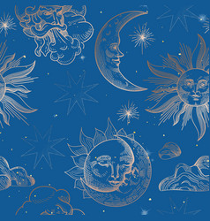 sun and moon vintage seamless pattern oriental vector image
