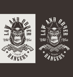 t-shirt print with gorilla concept vector image