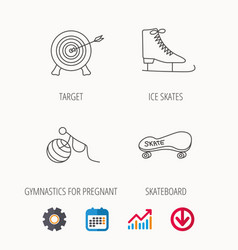 Target ice skates and skateboard icons vector