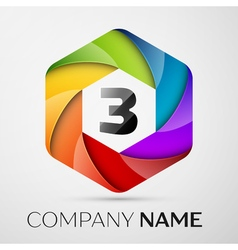 Three number colorful logo in the hexagonal on vector