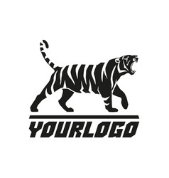 tiger roaring logo sign emblem animal vector image