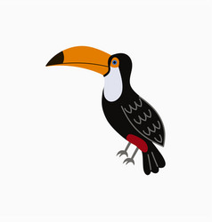 toucan exotic tropical bird with big yellow beak vector image