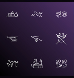 travel icons line style set with no animals vector image