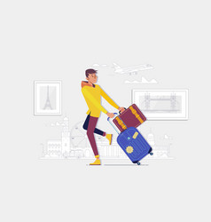 Traveler man walking with suitcase in street vector