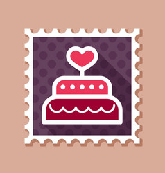Wedding cake dessert with heart stamp vector