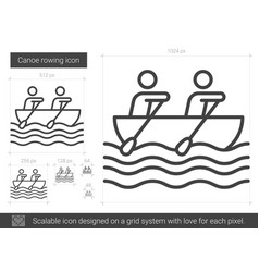 canoe rowing line icon vector image