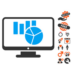 charts monitoring icon with lovely bonus vector image vector image
