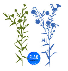 hand drawn silhouettes of flax plant vector image