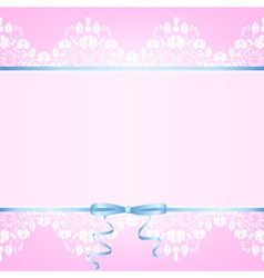 Pink background with white lace vector image vector image