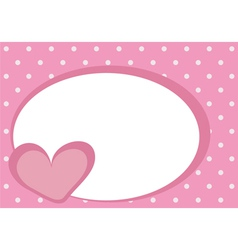 Valentines card with pink heart and polka dots vector image
