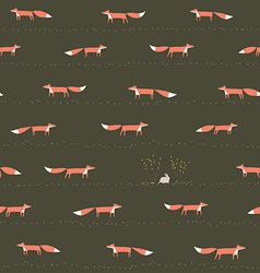 Wood fox and hare seamless pattern vector image vector image