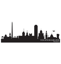 Yekaterinburg Russia city skyline Detailed silhoue vector image vector image