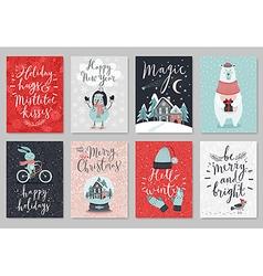 Christmas card set hand drawn style vector image