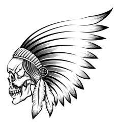 Indian Skull Emblem vector image