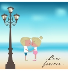Boy and girl kissing Summer background vector image vector image