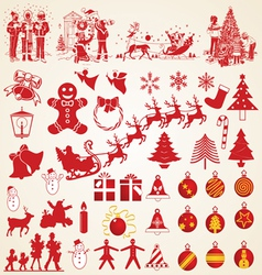 Christmas silhouettes pack vector image vector image