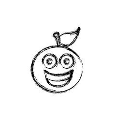 contour kawaii fruit orange happy icon vector image vector image
