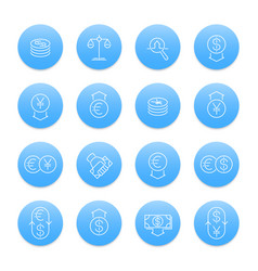 currency line icons set forex trading foreign vector image