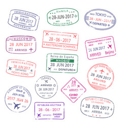 icons of world travel city passport stamps vector image