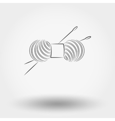 Skein of yarn for knitting and needles vector image vector image