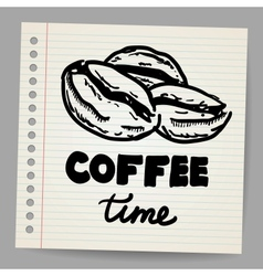 Coffee beans doodle vector image vector image
