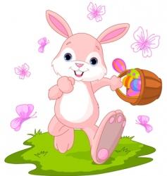 Easter bunny hiding eggs vector image vector image