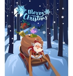 Santa Claus in a sleigh with presents in a hurry vector image