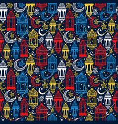 seamless pattern of ramadan kareem lanterns happy vector image vector image
