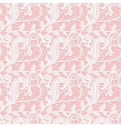 Seamless white lace fabric on a pink background vector image vector image