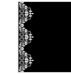 white lace border on black background vector image