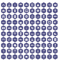100 travel time icons hexagon purple vector